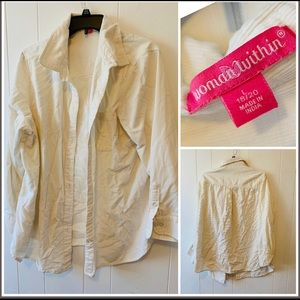 Woman Within Creme Button Up Size 18/20